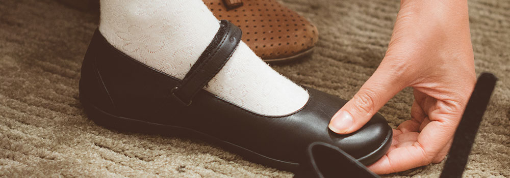 Children foot care, properly fitted shoes
